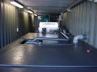 Filtercontainer 2 voorzien van trommelzeef, zandfilters en UV
